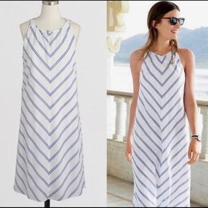 J.Crew linen cotton  chevron striped Dress white